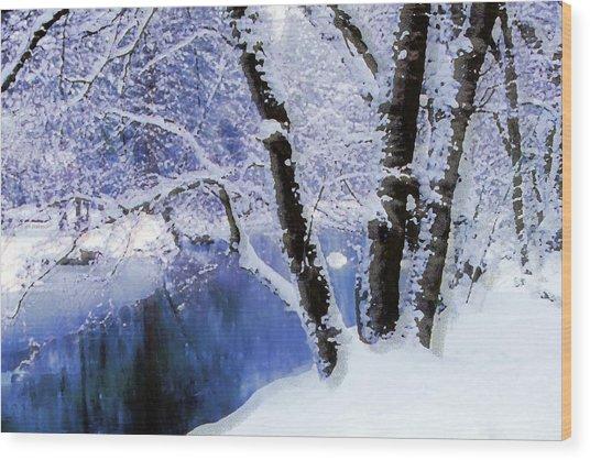 Winter Landscape Yosemite Valley Wood Print