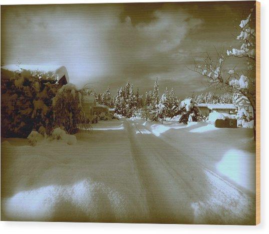 Winter Lane Wood Print