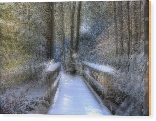 Winter Light On Bridge Wood Print