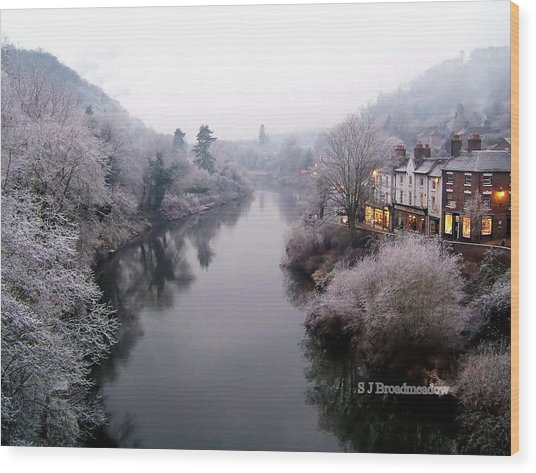 Winter Lights In Ironbridge Wood Print
