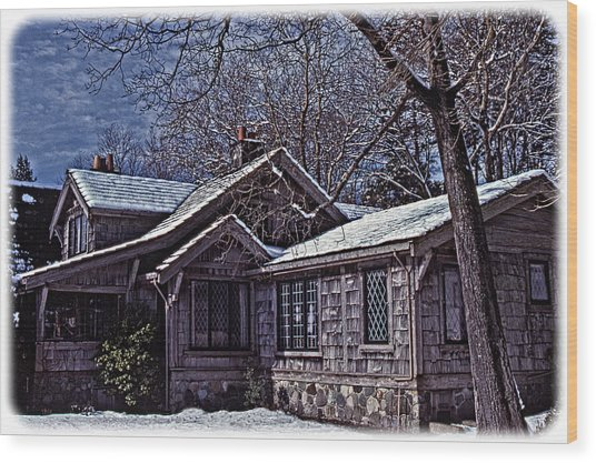 Winter Lodge Wood Print