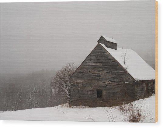 Winter Maine Barn Wood Print