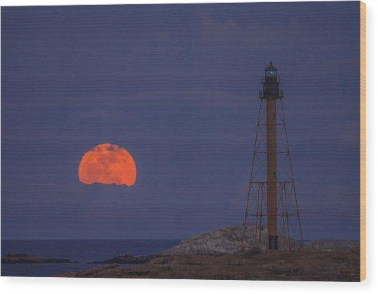 Winter Moon Rising Over Marblehead Light Wood Print