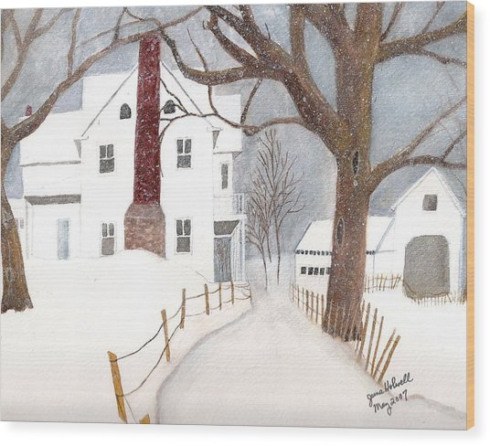 Winter Morning At The Big White House Wood Print