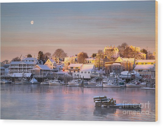 Winter Morning In Boothbay Harbor Wood Print