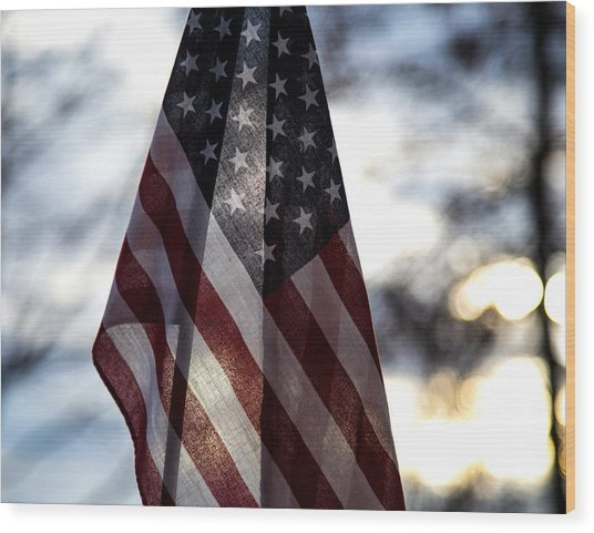 Winter Morning Patriotism Wood Print