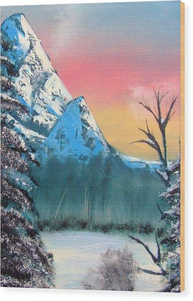 Winter Mountain Twilight Wood Print