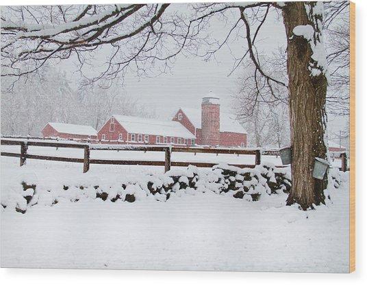Winter New England Farm Wood Print