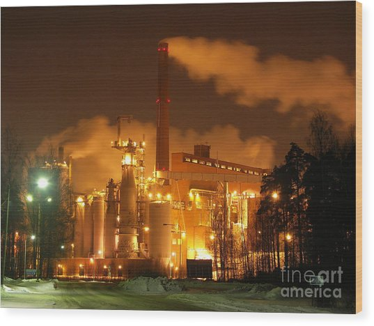 Winter Night At Sunila Pulp Mill Wood Print