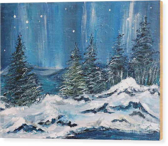 Winter Night Wood Print