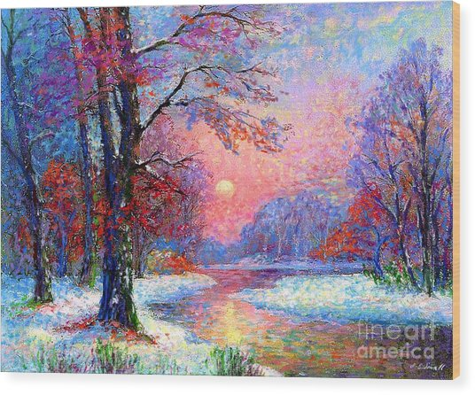 Winter Nightfall, Snow Scene  Wood Print