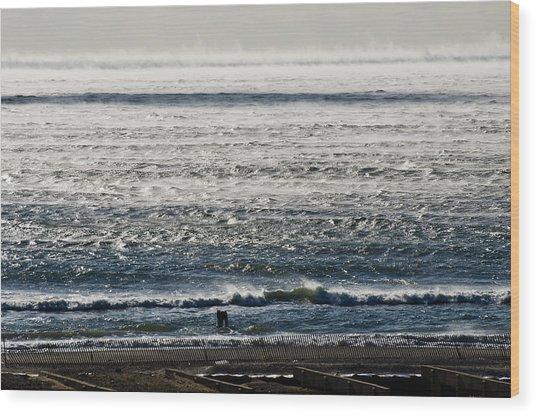 Winter Ocean Rockaway Beach Wood Print