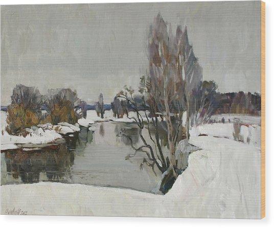 Winter On River Kliazma Wood Print