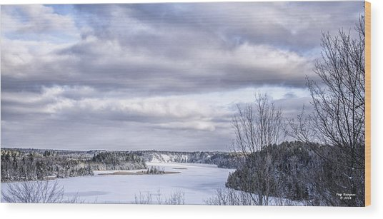 Winter On The Ausable River Wood Print