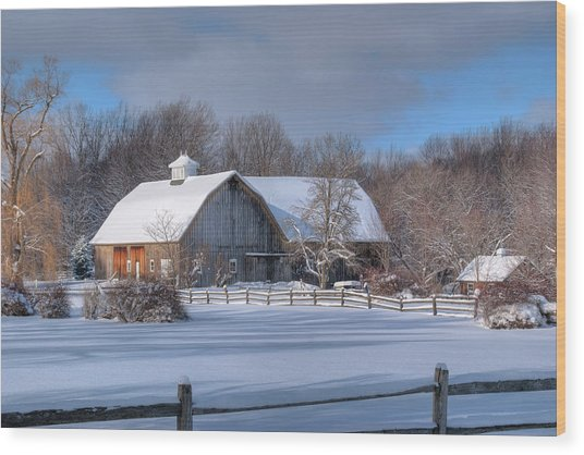 Winter On The Farm 14586 Wood Print