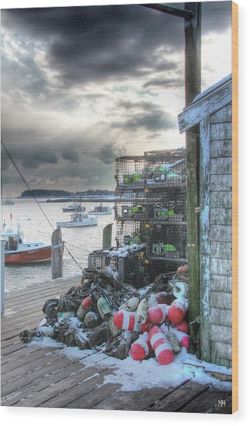 Winter On The Lobster Wharf Wood Print