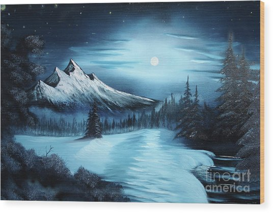 Winter Painting A La Bob Ross Wood Print by Bruno Santoro
