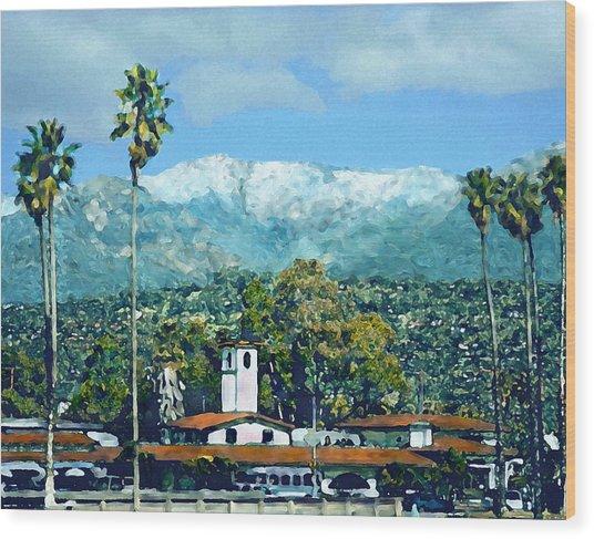 Winter Paradise Santa Barbara Wood Print