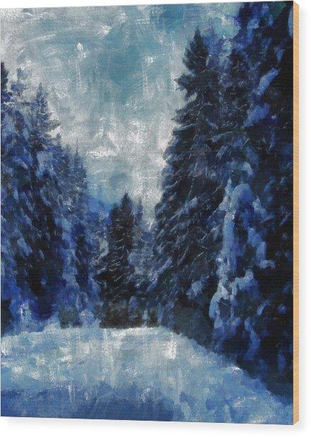 Winter Piny Forest Wood Print by Georgi Dimitrov