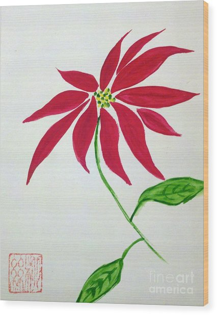 Winter Poinsettia Wood Print