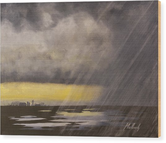Winter Rain Wood Print