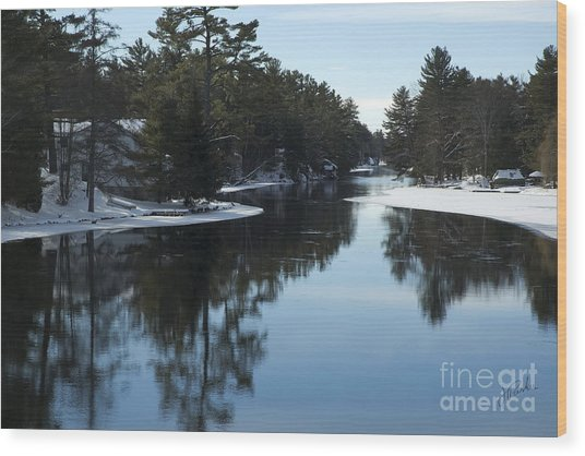Winter River II Wood Print