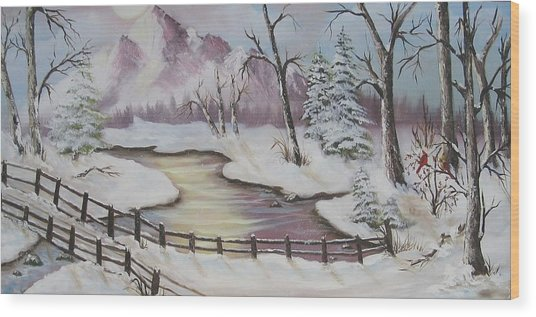 Winter Scene Wood Print by Joni McPherson