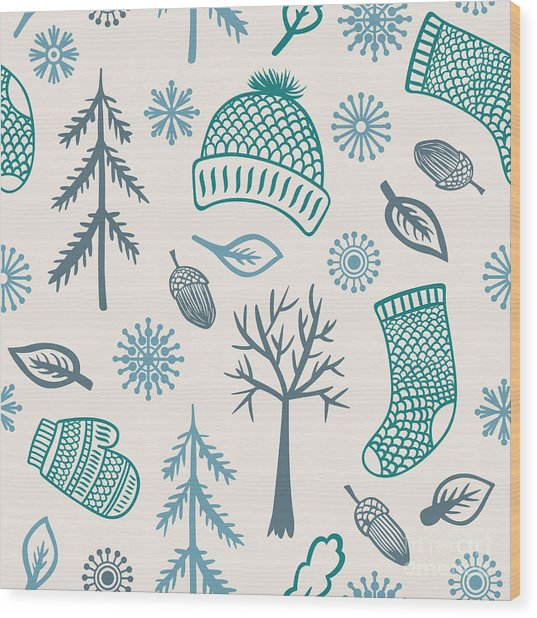 Winter Seamless Pattern With Knitted Wood Print by Marmarto