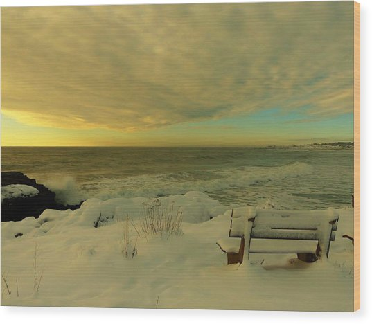 Winter Seascape Wood Print