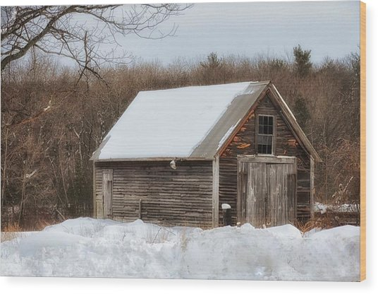 Winter Shack Wood Print