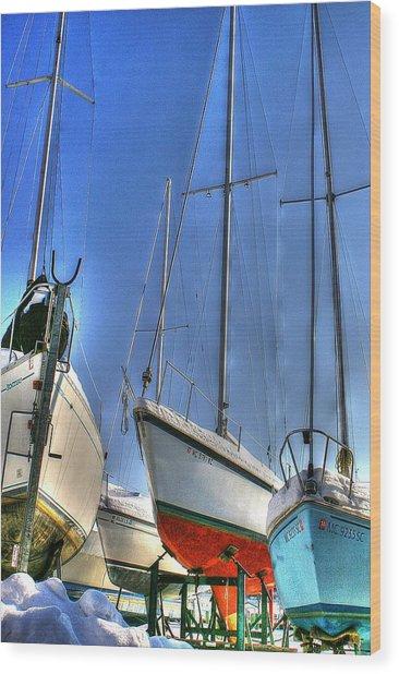 Winter Shipyard Wood Print