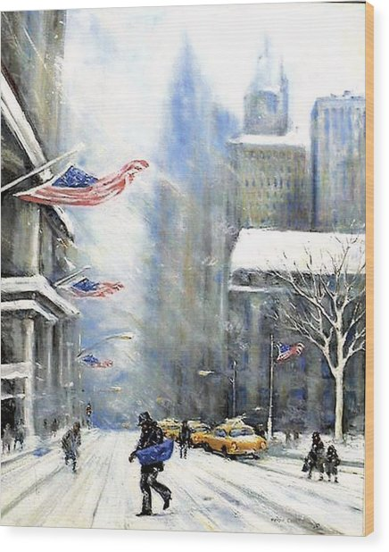 Winter Snow Nyc Wood Print