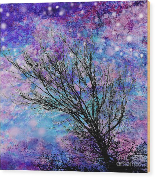 Winter Starry Night Square Wood Print by Ann Powell
