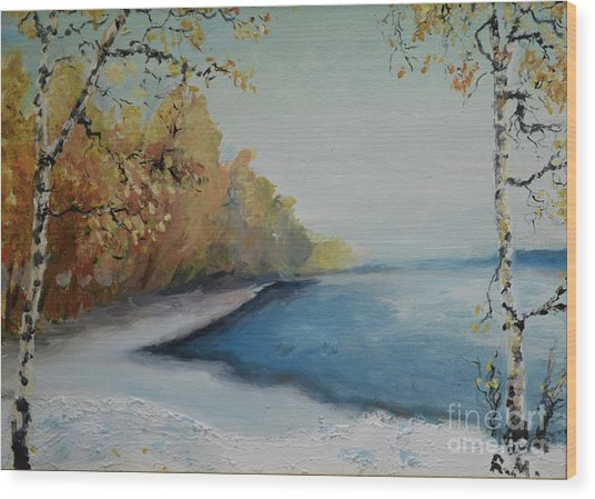 Winter Starts At Kymi River Wood Print