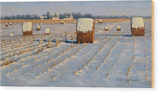 Winter Stubble Bales Wood Print
