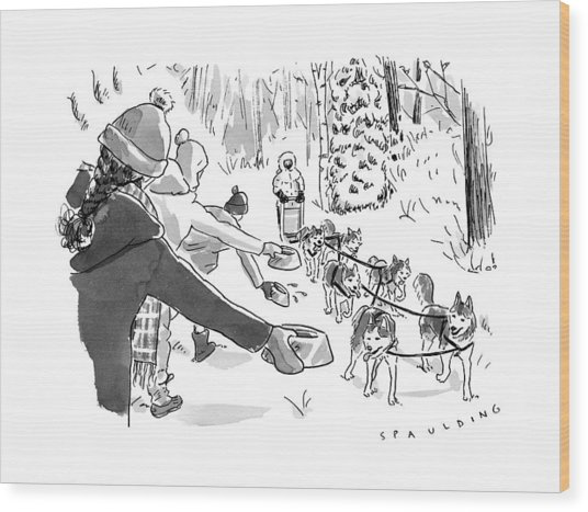 Winter Suited Volunteers Hold Out Dog Dishes Wood Print