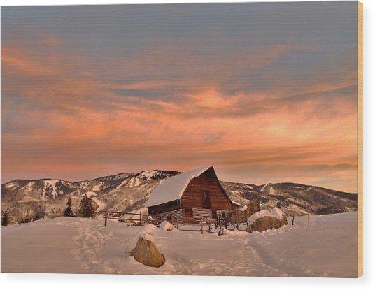 Winter Sundown Wood Print