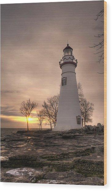 Winter Sunrise At Marblehead Lighthouse - Portrait Wood Print