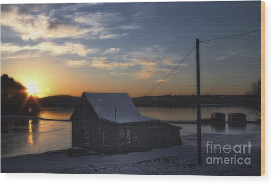 Winter Sunset At The Bog Wood Print