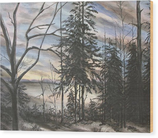 Winter Sunset Wood Print by Bev  Neely
