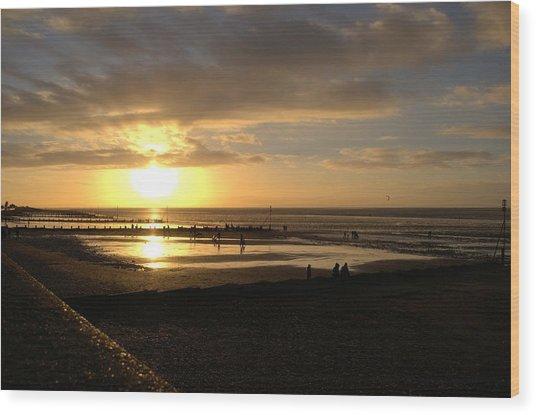 Winter Sunset Wood Print by Dave Woodbridge