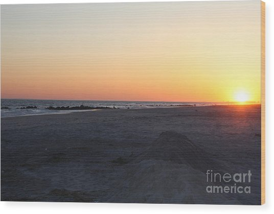 Winter Sunset On Long Beach Wood Print