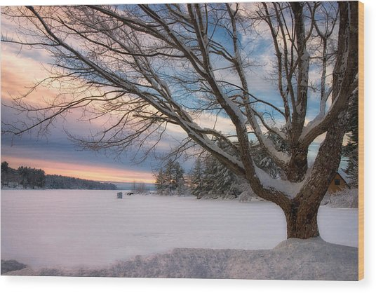 Winter Sunset On Long Lake Wood Print