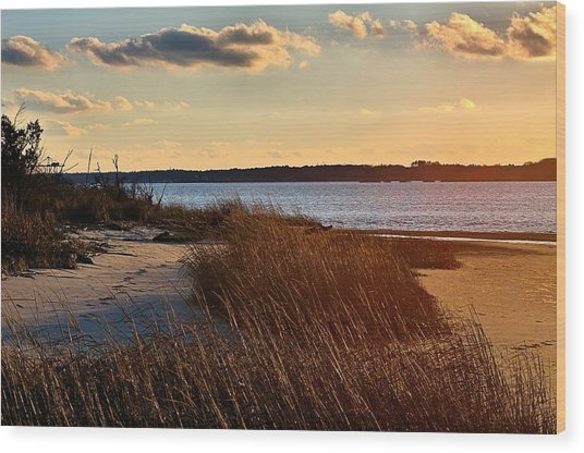 Winter Sunset On The Cape Fear River Wood Print