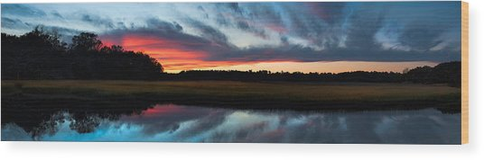 Winter Sunset Over Moultrie Creek Wood Print