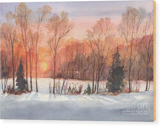 A Hedgerow Sunset Wood Print