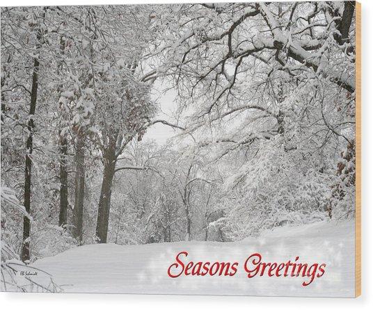 Winter Trail Seasonal Card Wood Print