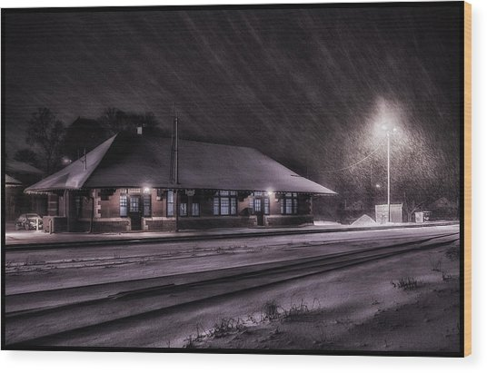 Winter Train Station  Wood Print