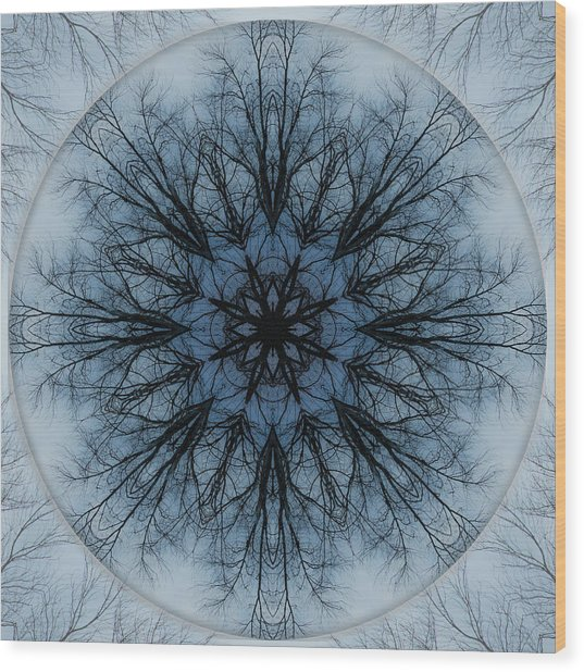 Winter Tree Mandala 2 Wood Print