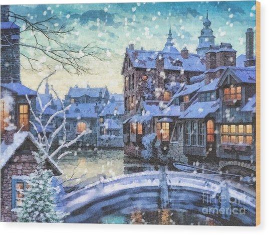 Winter Twilight Wood Print